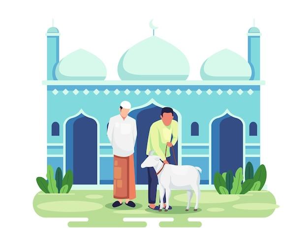 이드 알 아드하 꾸르반 축제. 가축을 도살하여 모든 이슬람교도를 축하했습니다. 꾸르반을 위해 염소를 들고 있는 사람들. 행복한 eid al adha 가축의 희생. 평면 스타일의 벡터 일러스트 레이 션