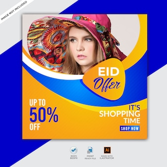 Eid al adha sale, banner design with flat 50% off offers.