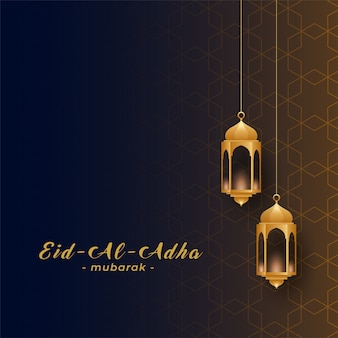 Eid al adha with golden hanging lamps