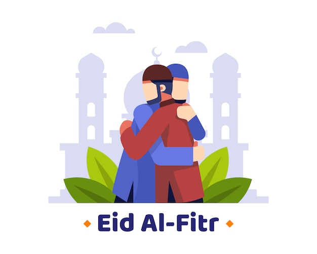 Eid al fitr background with two muslims hug each other