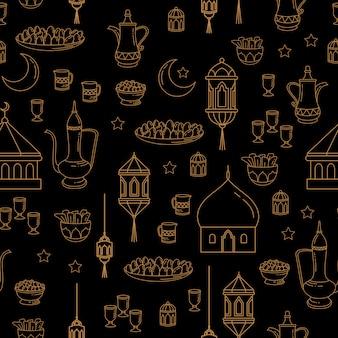 Ид аль-фитр праздник бесшовные модели линии искусства