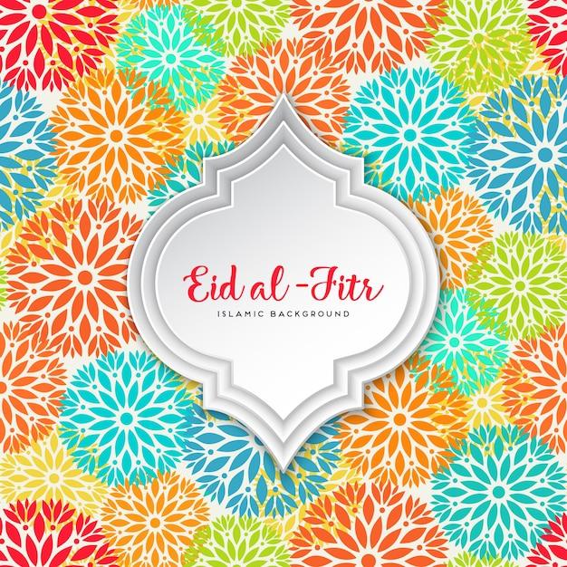 Cool Modern Eid Al-Fitr Decorations - eid-al-fitr-design-with-colorful-flowers_1159-1576  HD_86539 .jpg?size\u003d338\u0026ext\u003djpg\u0026ve\u003d1