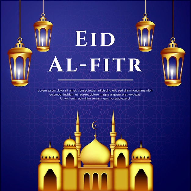 Eid al fitr greeting card with lamps and mosque