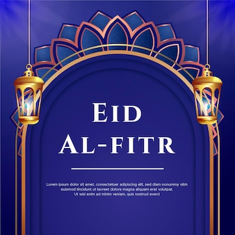 Eid al fitr greeting card with lamps