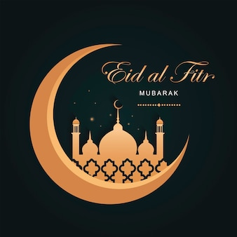 Eid al fitr mubarak in a dark green background with a golden moon and a mosque. banner for traditional islamic holidays. luxury style. vector illustration