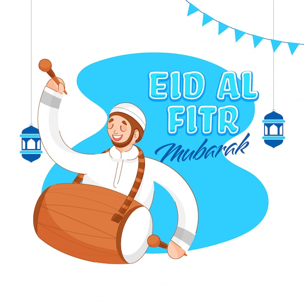 Eid al fitr mubarak font with happiness muslim man beating drum and hanging arabic lanterns on abstract background.