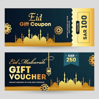 Eid al-fitr mubarak horizontal gift coupon or voucher template