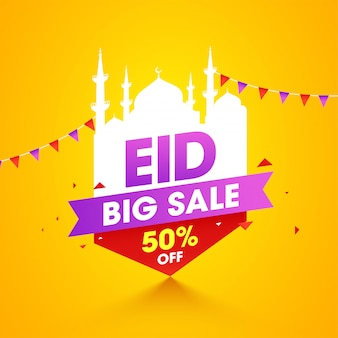 Eid al-fitr mubarak. yellow color banner template design with bunting decoration