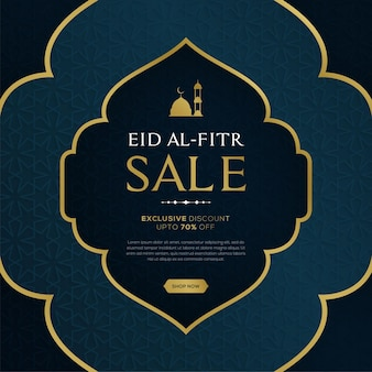 Eid al fitr sale banner with hanging lantterns on blue islamic pattern background