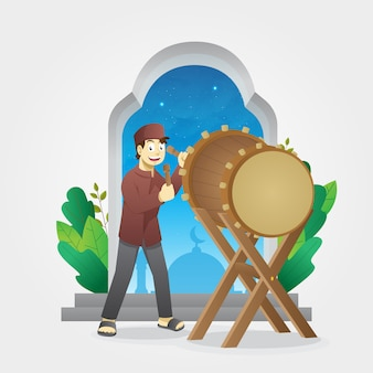 儀式用の太鼓を叩く少年とイードアルフィトル