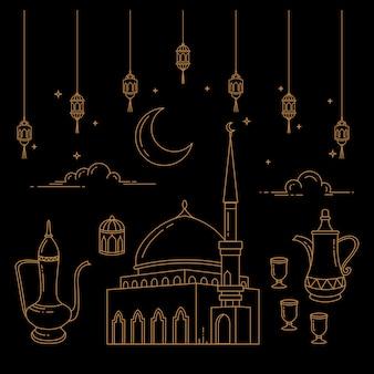Eid al-fitrのお祝いラインアート