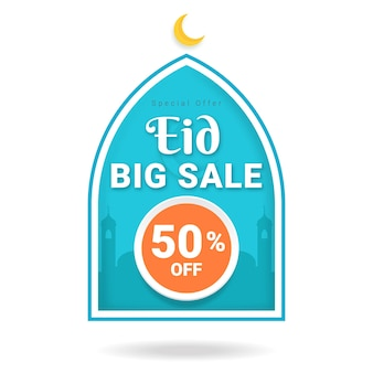 Eid big sale label sale banner. special offer eid sale.
