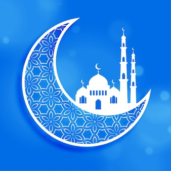 Eid festival moon and mosque background