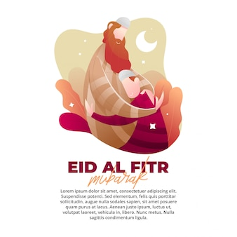 Eid illustration concept with the love of a father
