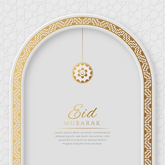 Eid mubarak arabic elegant luxury ornamental islamic background with islamic pattern border and decorative hanging ornament