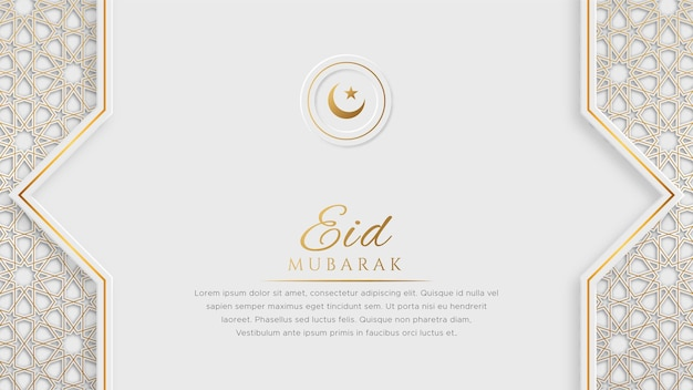Eid mubarak arabic islamic elegant white and golden luxury ornamental banner with islamic pattern and decorative ornament border frame