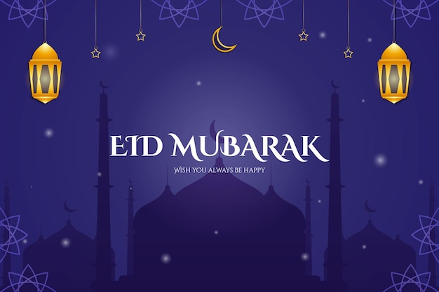Eid mubarak background design with mosque and ornament star moon