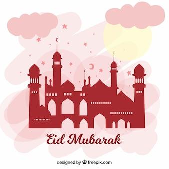 Eid mubarak background mosqe design