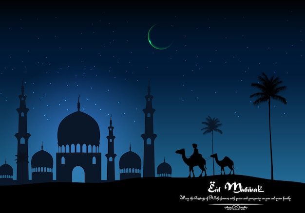 Eid mubarak background with arabian riding camel and mosque on night