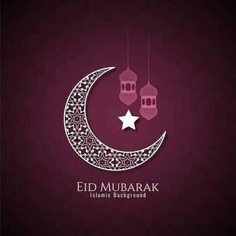 Eid mubarak background with crescent moon