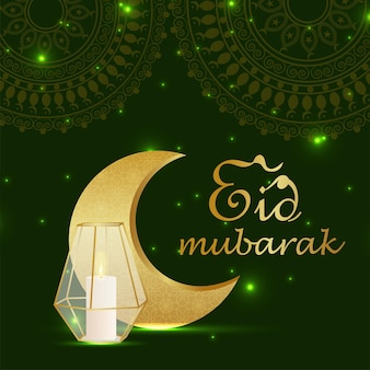Eid mubarak background with crystal lantern and moon