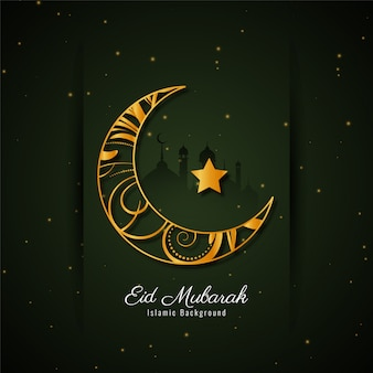Eid mubarak background with golden crescent moon