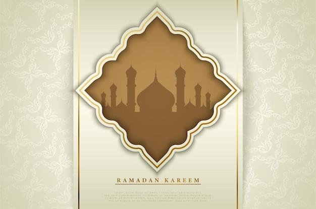 녹색 직사각형 장식으로 eid 무바라크 배경