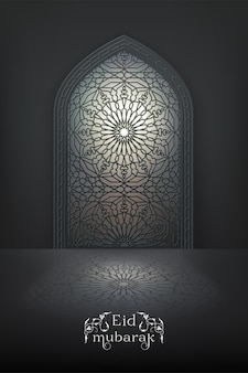Eid mubarak background with islamic mosque window with arabic pattern on a night sky