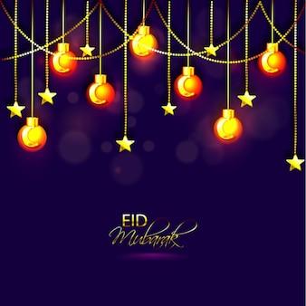 Eid mubarak background with light bulbs and stars hanging Premium Vector