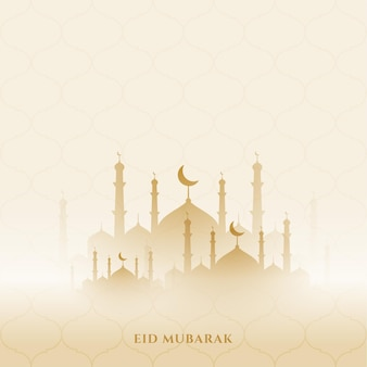 Eid mubarak background with mosque design