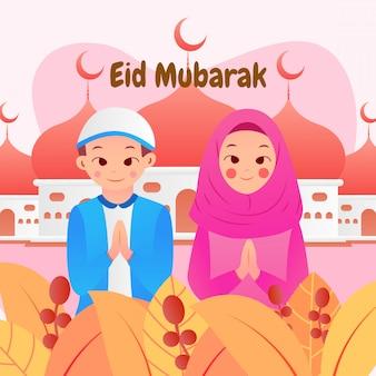 イスラム教徒の男性と女性のフラットスタイルのイードムバラク背景