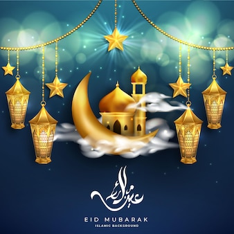 Eid mubarak background with realistic golden lanterns, star, mosque, and sparkling bokeh background