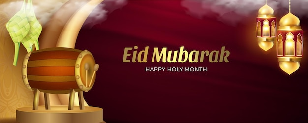 Eid mubarak background with realistic lanterns crescent moon ketupats and bedug