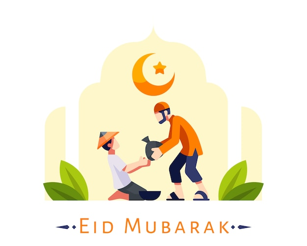 Eid mubarak background with young moslem man giving foods donation to poor people illustration
