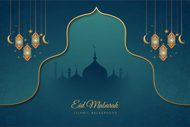 Eid mubarak beautiful card holiday background