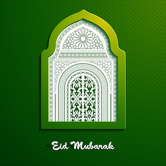 Eid mubarak beautiful greeting vector design with window mosque arabic pattern