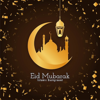 Eid mubarak beautiful islamic confetti background