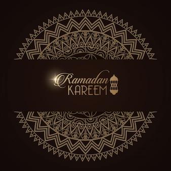 만다라 프레임 일러스트 디자인 이드 무바라크 카드