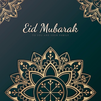 Eid mubarak card with mandala pattern background