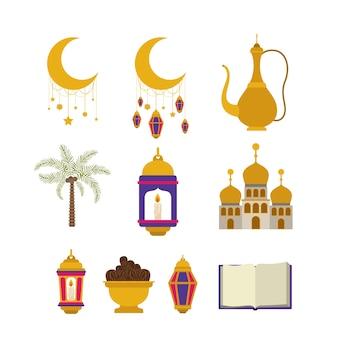 Eid mubarak card with set icons