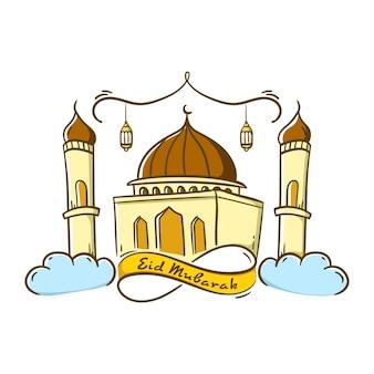 Eid mubarak celebration with ribbon decoration and mosque doodle style design   illustration