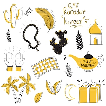 Eid mubarak collection with doodle or hand draw style