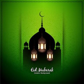 Ид мубарак декоративный исламский зеленый фон
