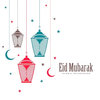 Eid mubarak decorative lamps flat background