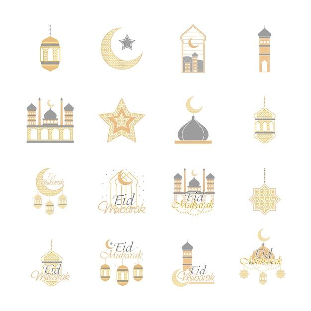 Eid 무바라크 요소 세트