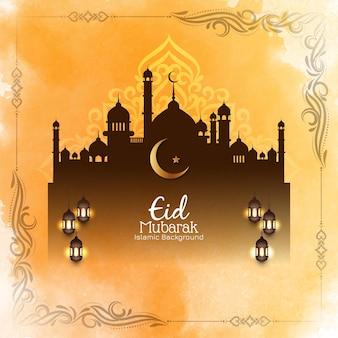 Eid mubarak festival beautiful greeting card