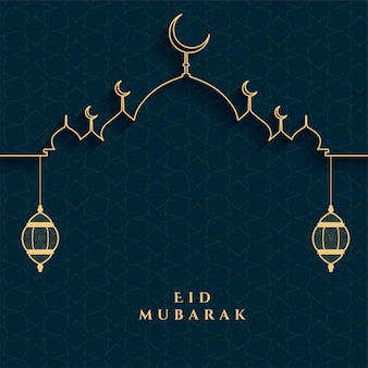 Eid mubarak festival card in golden and black colors Free Vector