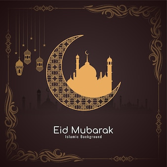 Eid mubarak festival islamic card with frame and crescent moon