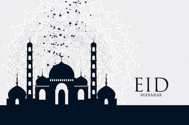 Eid mubarak festival mosque greeting background