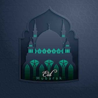 Eid mubarak glow mosque in pattern window